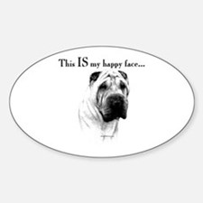 Shar Pei Happy Oval Decal