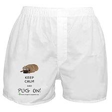 KEEP CALM  PUG ON BIGGEST Boxer Shorts