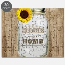 Home Sweet Home Rustic Mason Jar Puzzle