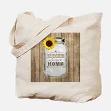 Home Sweet Home Rustic Mason Jar Tote Bag