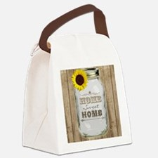 Home Sweet Home Rustic Mason Jar Canvas Lunch Bag