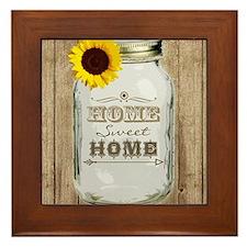 Home Sweet Home Rustic Mason Jar Framed Tile