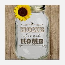 Home Sweet Home Rustic Mason Jar Tile Coaster