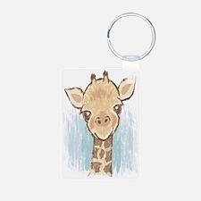 Sweet Giraffe Aluminum Photo Keychain