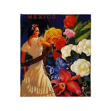 Vintage Veracruz Mexico Travel Throw Blanket