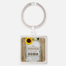 Home Sweet Home Rustic Mason Jar Square Keychain