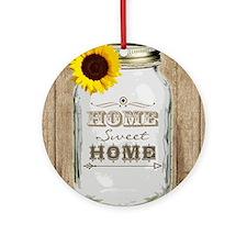Home Sweet Home Rustic Mason Jar Round Ornament