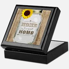 Home Sweet Home Rustic Mason Jar Keepsake Box