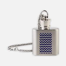 Chevron Blue Flask Necklace