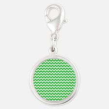 Chevron Green Silver Round Charm