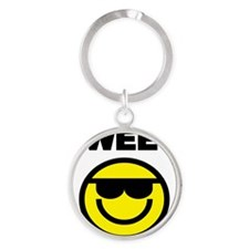 SWEET  WITH SMILEY FACE Round Keychain