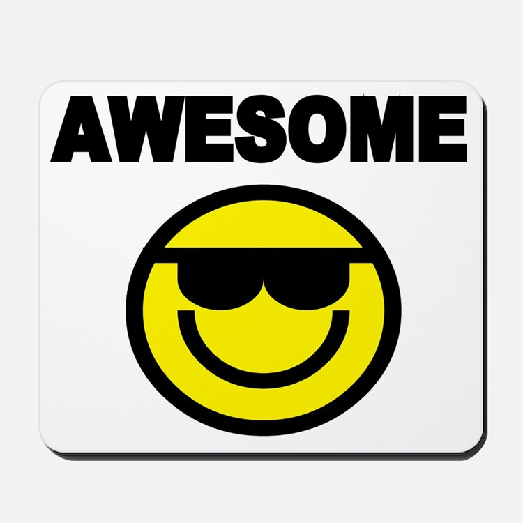 AWESOME WITH SMILEY FACE Mousepad