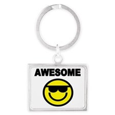 AWESOME WITH SMILEY FACE Landscape Keychain