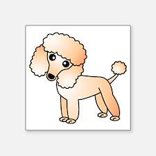 "Cute Apricot Poodle Square Sticker 3"" x 3"""