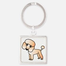 Cute Apricot Poodle Square Keychain