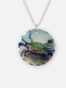 Blue Crab Watercolor Necklace