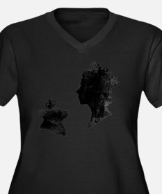 Queen and Co Women's Plus Size Dark V-Neck T-Shirt