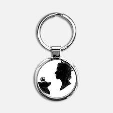 Queen and Corgi Round Keychain