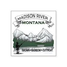 "Madison River Fishing Square Sticker 3"" x 3"""
