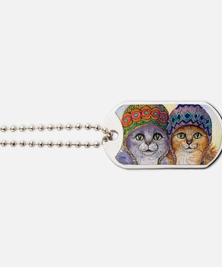The knitwear cat sisters Dog Tags