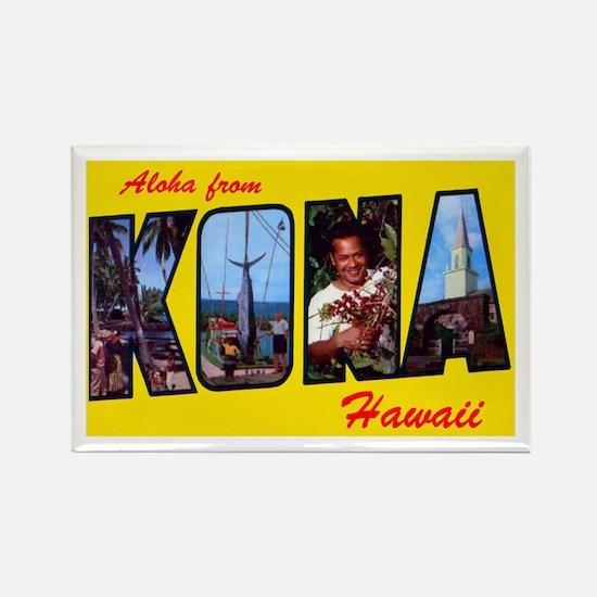 Kona Hawaii Greetings Rectangle Magnet