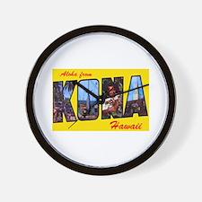 Kona Hawaii Greetings Wall Clock