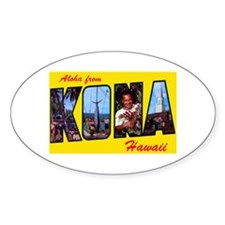 Kona Hawaii Greetings Oval Decal