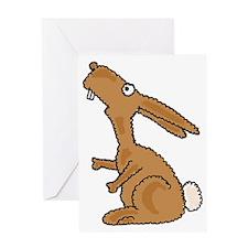 Funny Dumb Bunny Cartoon. Greeting Card