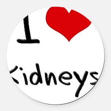 I Love Kidneys Round Car Magnet