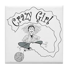 Crazy Girl B/W Tile Coaster