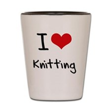 I Love Knitting Shot Glass