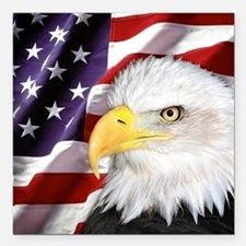 "Freedom Flag & Eagle Square Car Magnet 3"" x 3"""