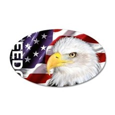 Freedom Flag & Eagle 35x21 Oval Wall Decal