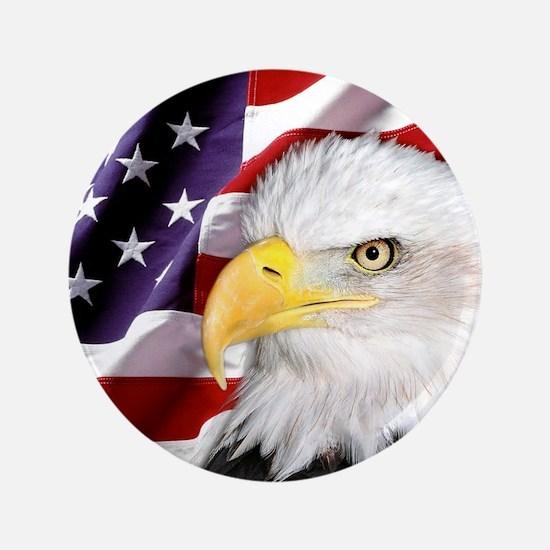 """Freedom Flag & Eagle 3.5"""" Button"""