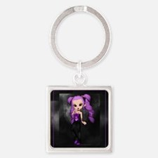 Purple Punk Cookie Girl Square Keychain