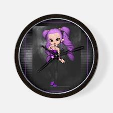 Purple Punk Cookie Girl Wall Clock