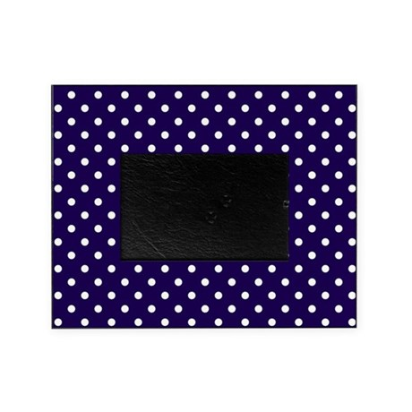 navy blue white polka dots picture frame by admin cp451775. Black Bedroom Furniture Sets. Home Design Ideas