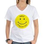 Smile If You are Gay (Smiley Face) Women's V-Neck