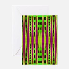 Bright Green Purple Abstract Greeting Card