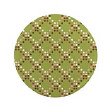 "Brown, Red, White Dots on Green 3.5"" Button"