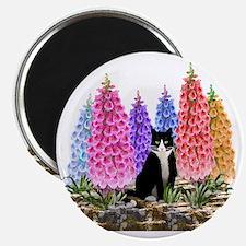 Tuxedo Cat among the Foxgloves Magnet