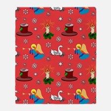 Christmas, White Swans  Top Hats Throw Blanket