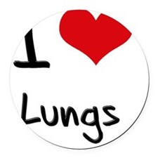 I Love Lungs Round Car Magnet