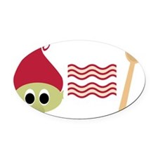 Red Troll Bacon Spoon Oval Car Magnet