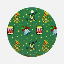 Christmas, Horns, Drums, Bells Round Ornament