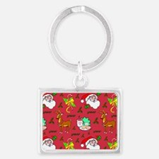 Christmas, Santa Claus, Reindee Landscape Keychain