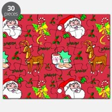 Christmas, Santa Claus, Reindeer, Candy Can Puzzle