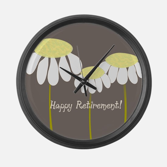 happy retirement daisies Large Wall Clock