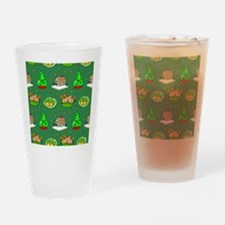 Christmas, Trees, Cookies, Hens Drinking Glass