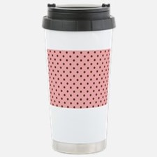 Pink with Brown Dots Stainless Steel Travel Mug